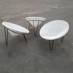 Trio de fauteuils tripodes assise corbeille rotin fer forgé