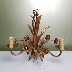 Lustre 3 feux doré décor de roses et épis de blé DLG Bagues Paris