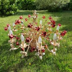 Lustre bouquet de roses 12 branches Shabby chic