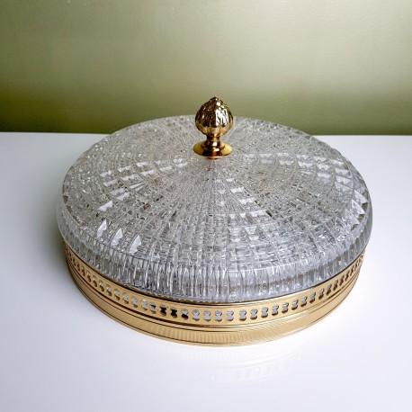 Plafonnier Globe verre texturé cerclage doré