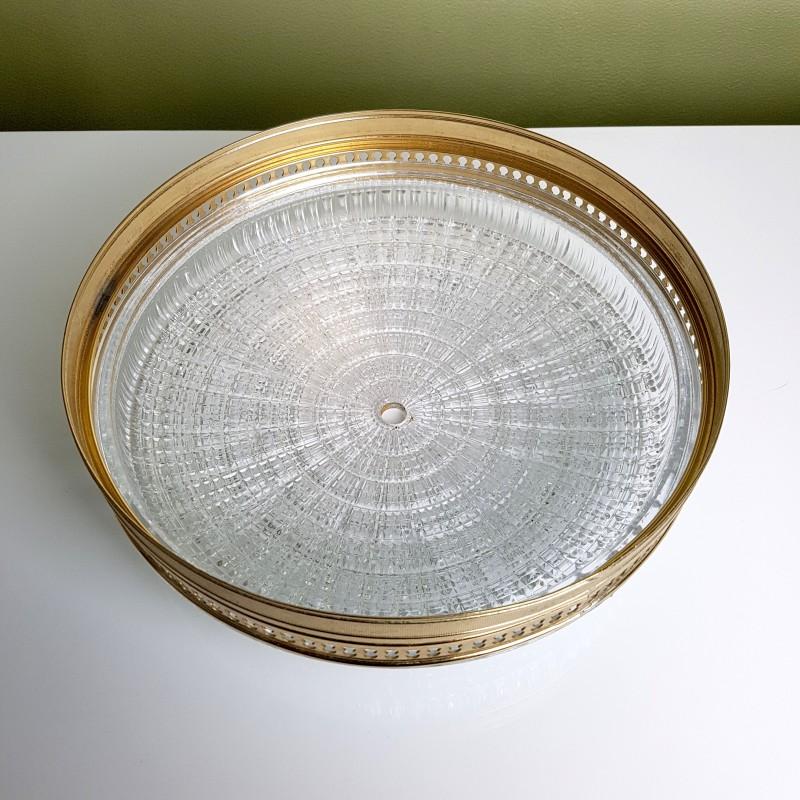 plafonnier globe verre textur cerclage dor. Black Bedroom Furniture Sets. Home Design Ideas