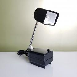 Lampe de bureau telescopique pliable Plastique Noir  vintage West Germany 1970's