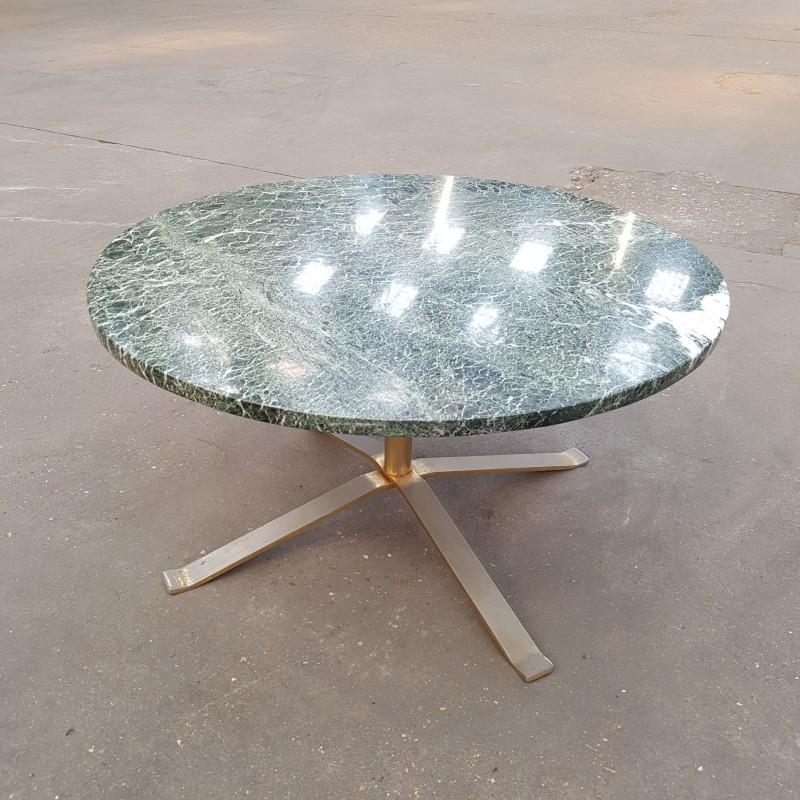 table basse en marbre vert pietement acier dor. Black Bedroom Furniture Sets. Home Design Ideas