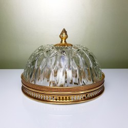 Plafonnier Globe verre cerclage doré