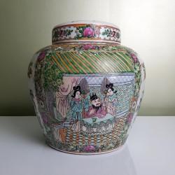 Grand Pot  chinois à gingembre avec couvercle Décor Canton