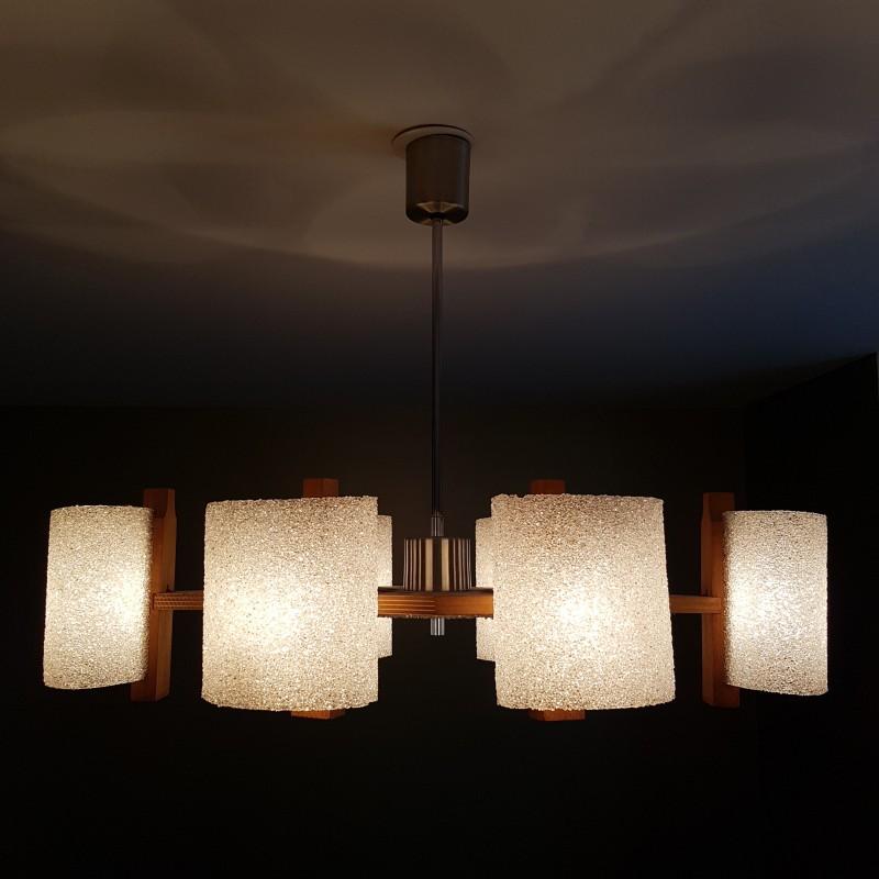 lustre scandinave 6 feux en bois et perspex vintage. Black Bedroom Furniture Sets. Home Design Ideas