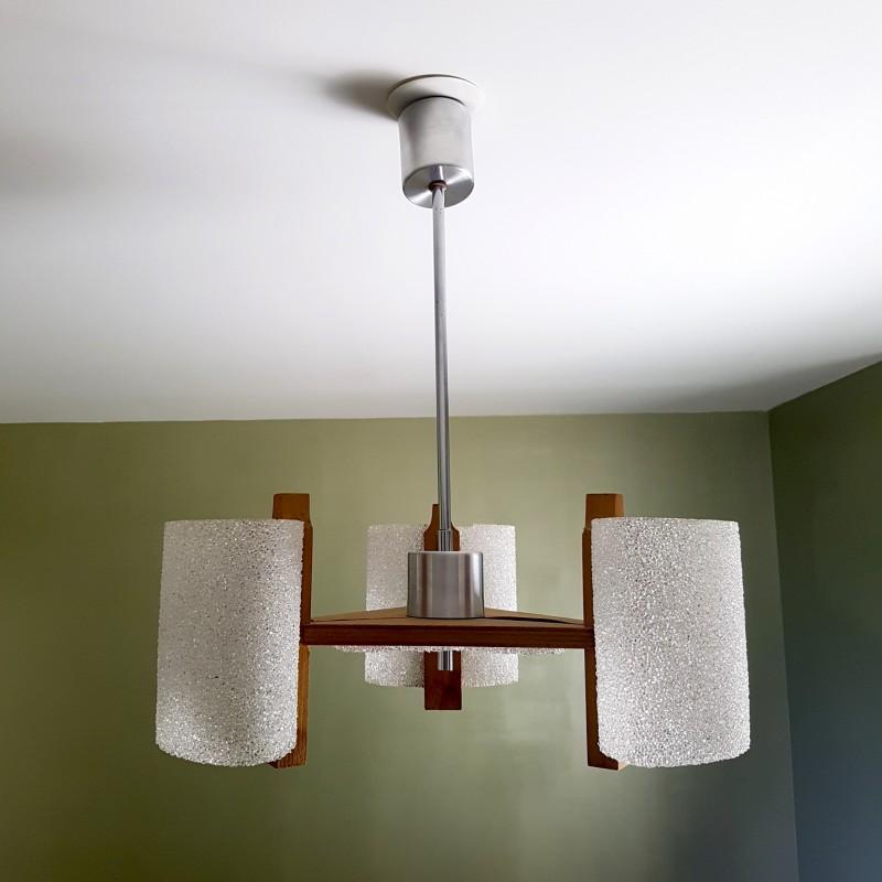 petit lustre scandinave 3 feux perspex bois vintage. Black Bedroom Furniture Sets. Home Design Ideas