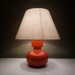 Piede de lampe en céramique orange vintage et abat jour tissu écru