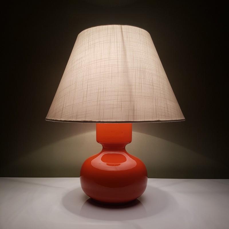 piede de lampe en c ramique orange vintage et abat jour tissu cru. Black Bedroom Furniture Sets. Home Design Ideas