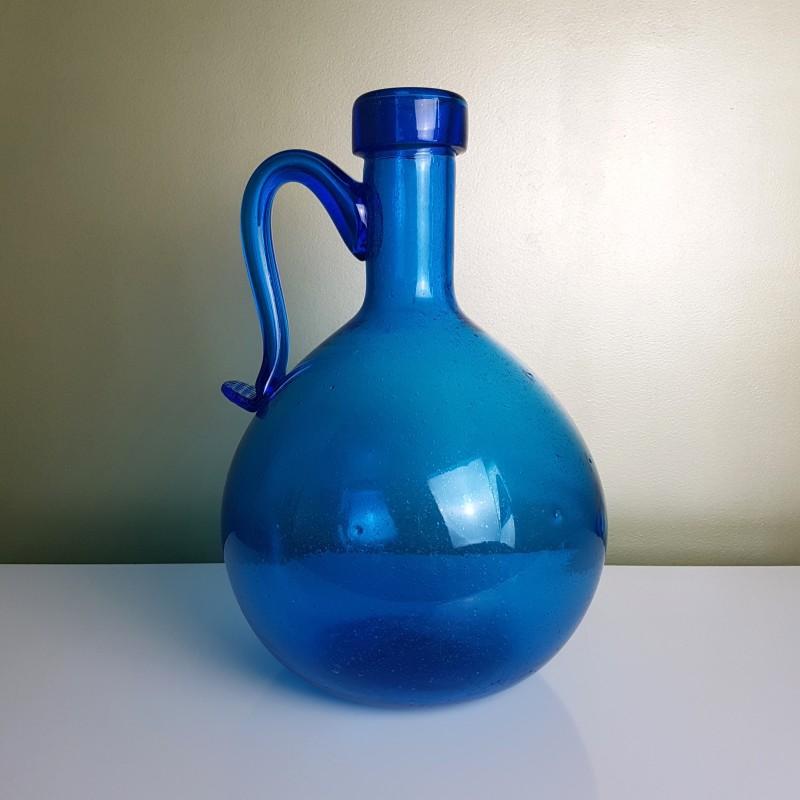 Dame jeanne bonbonne avec anse en verre bull bleu le for A bon verre bonne table