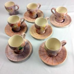 Lot de 7 tasses en céramique avec soucoupes M. C. Treinen