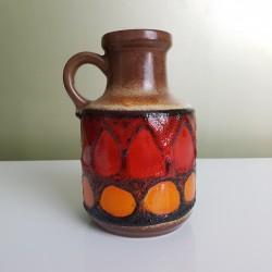 Petit Vase à anse orange et rouge  ceramique allemande Fat Lava Era