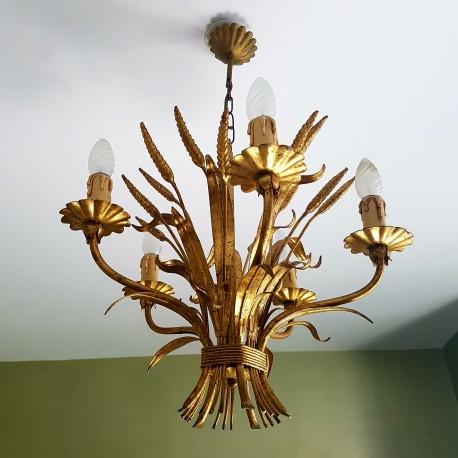 Lustre en métal doré à décor de bouquet de blé DLG Maison Bagues Paris