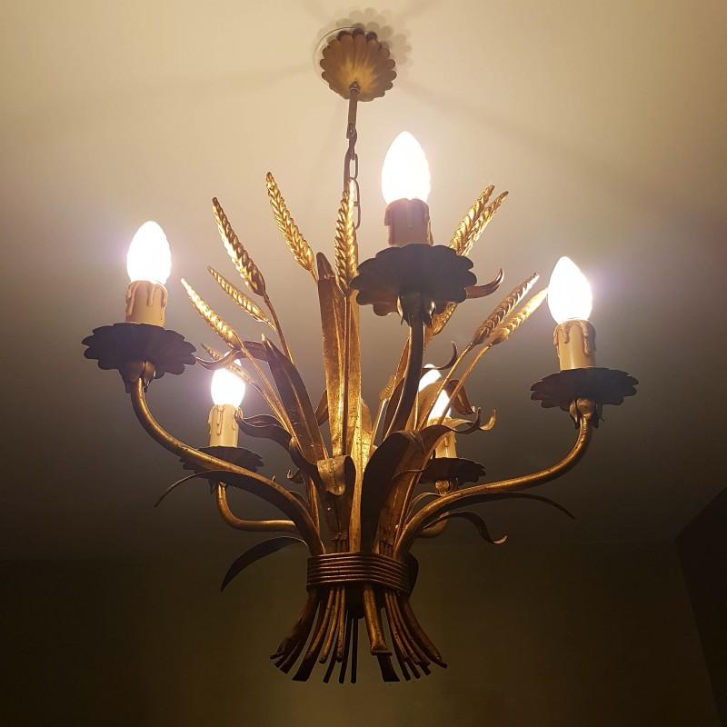 Lustre Paris : Lustre en métal doré à décor de bouquet blé dlg maison