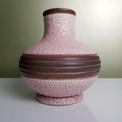 Vase Art Déco rose et brun DLG Louis Dage