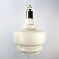 Important pied de lampe céramique beige et chrome