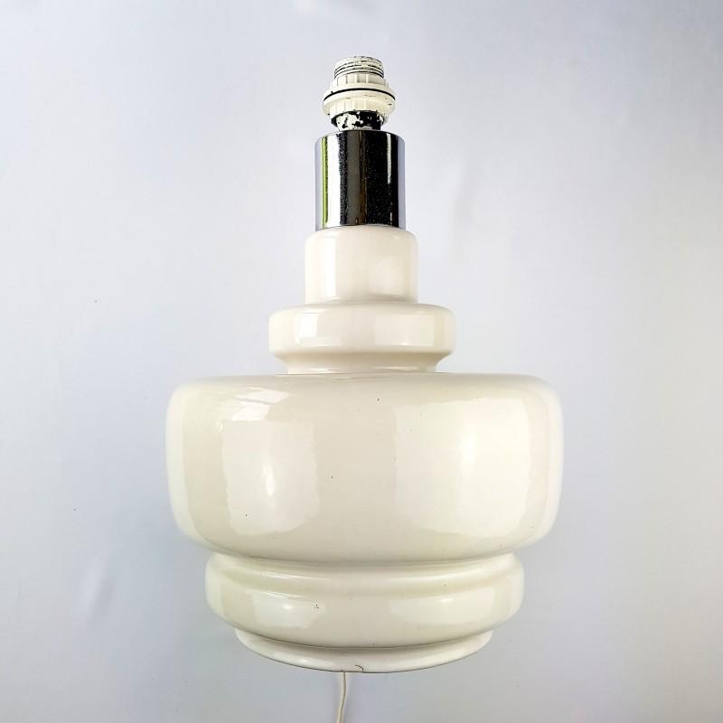 important pied de lampe c ramique beige et chrome. Black Bedroom Furniture Sets. Home Design Ideas