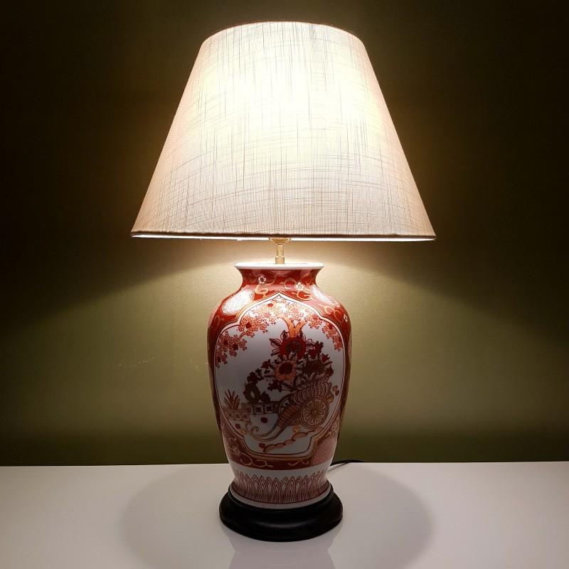 pied de lampe en porcelaine japonaise d cor imari style xixe. Black Bedroom Furniture Sets. Home Design Ideas