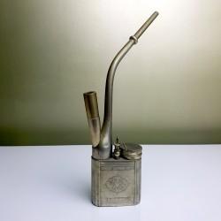 Grande et ancienne pipe a opium chinoise en métal