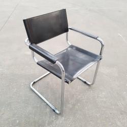 Chaise modernister tubes chromés et cuir sellier DLG Breuer