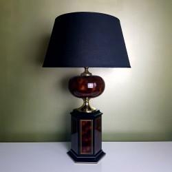 Imposant pied de lampe boule noir doré faux bois style Jansen Barbier vintage