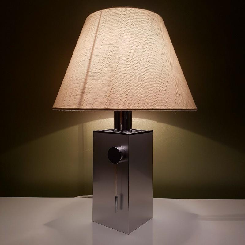 pied de lampe carr en aluminium bross et chrome vintage. Black Bedroom Furniture Sets. Home Design Ideas
