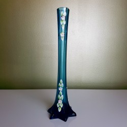 Soliflore en cristal de Boheme bleu  rehaussé de fleurs