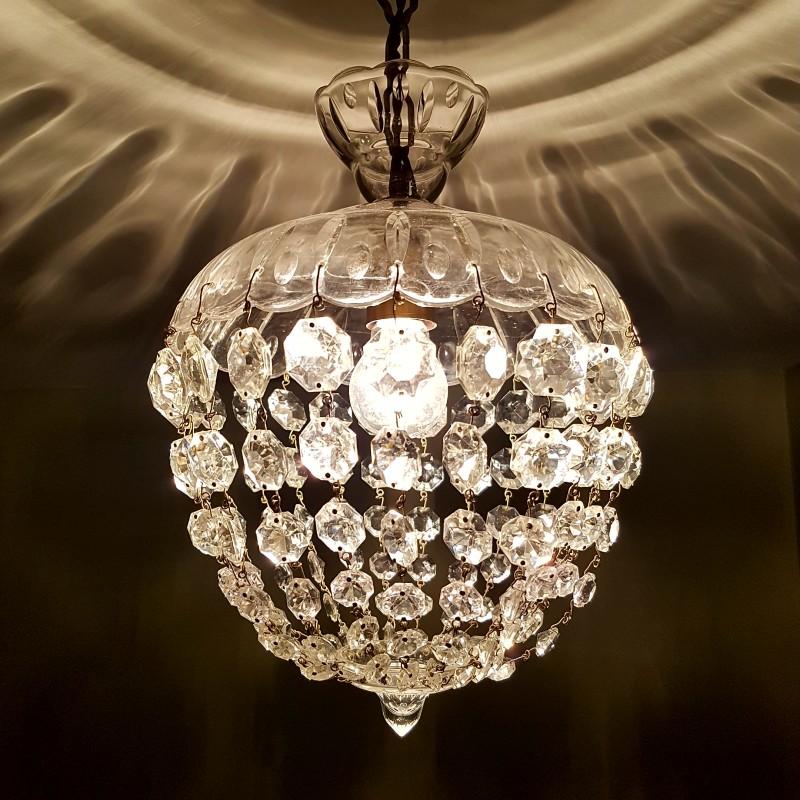 Lustre montgolfiere pampilles de cristal - Lustre a pampilles cristal ...