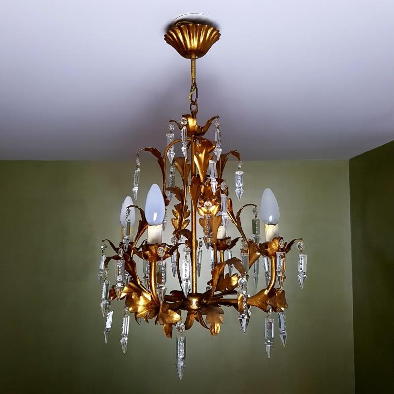 lustre 4 feux italien en m tal dor d cor de pampilles en cristal. Black Bedroom Furniture Sets. Home Design Ideas