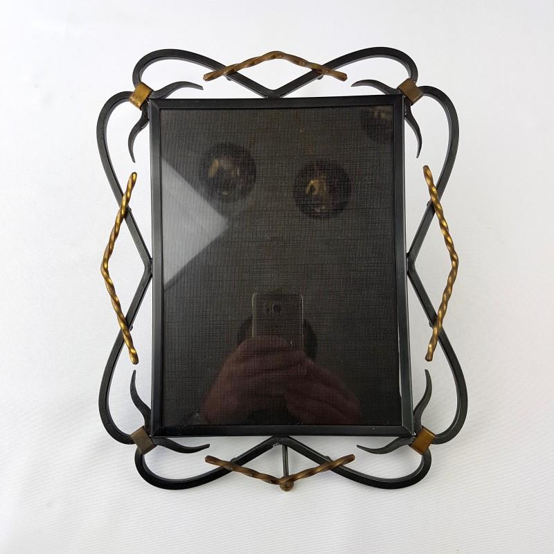 cadre photo fer forg noir et dor 50 39 s. Black Bedroom Furniture Sets. Home Design Ideas
