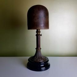 Rare Forme Porte chapeau Marotte Fin 19E Laiton Bois céramique hauteur régable