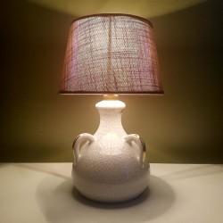 Lampe en ceramique à anses email craquelée et dorures Accolay