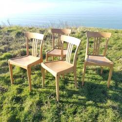 Ensemble de 4 chaises bistrot en bois clair Marque française vintage STELLA