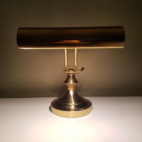 Lampe De Bureau En Laiton Abat Jour Rouleau Dite De Notaire Ou Banquier