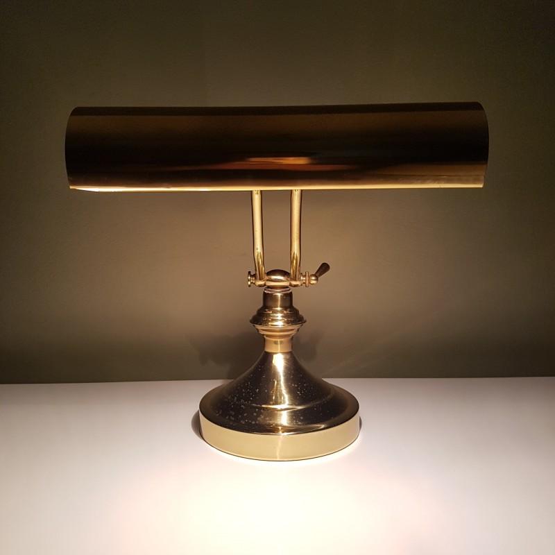 lampe de bureau en laiton abat jour rouleau dite de notaire ou banquier. Black Bedroom Furniture Sets. Home Design Ideas