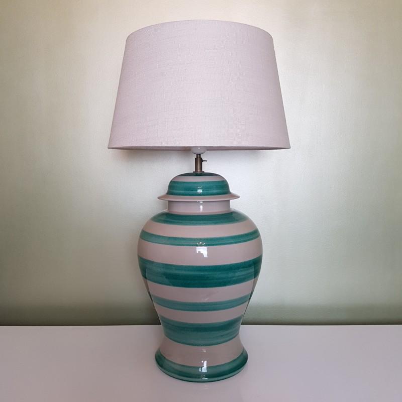 imposant pied de lampe en c ramique ray vert g rard danton roche bobois. Black Bedroom Furniture Sets. Home Design Ideas