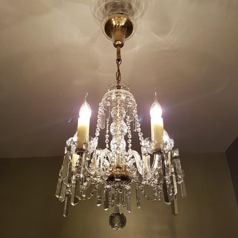 lustre pampilles 5 feux en cristal tch que. Black Bedroom Furniture Sets. Home Design Ideas