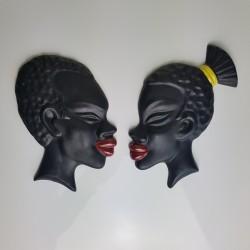 Paire de visage d'afrique africain en platre années 50 60