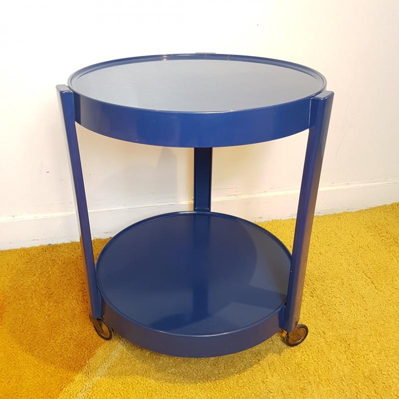 desserte roulante en plastique bleu vintage. Black Bedroom Furniture Sets. Home Design Ideas