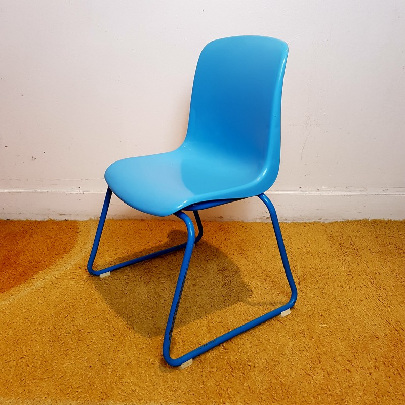 Chaise Enfant Vintage Empilable Assise Plastique Bleu