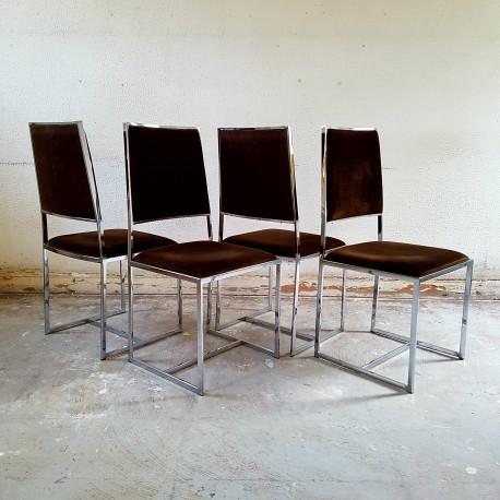 4 chaises chrome et velours marron DLG Rizzo