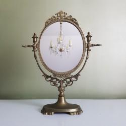 Miroir de table pivotant en laiton massif