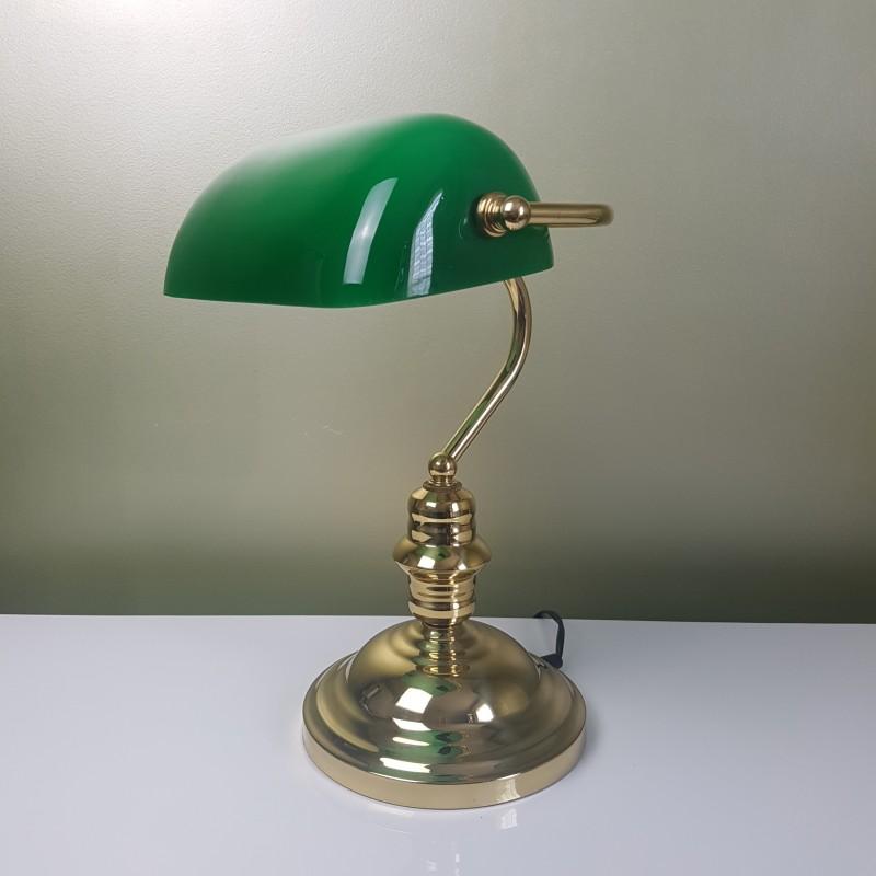 Lampe Style Banquier En Laiton Et Opaline Verte