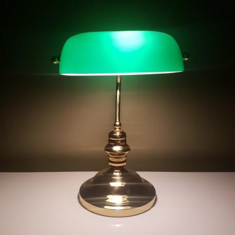 Style Banquier Laiton Et Opaline Lampe Verte En iTwPXZkOu
