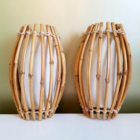 Paire d'appliques vintage en bambou