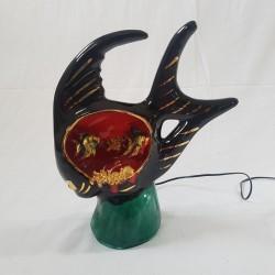 Veilleuse en céramique poisson kitsch Vallauris vintage