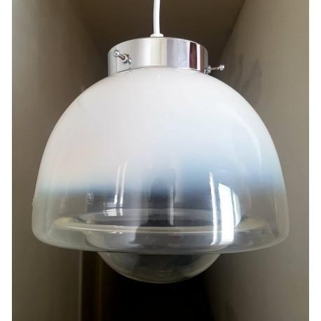 Suspension Globe en verre du Murano et chrome vintage 1970 (no Mazzega)