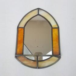 Miroir avec tablette en vitraux verre multicolore dans le style Tiffany