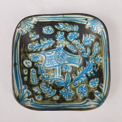 Coupe en céramique Paul Yvain Keraluc Quimper décor d'oiseau
