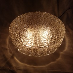 Grand plafonnier globe en verre et corps en bakelite RZB